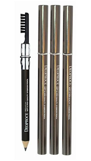 Карандаш для бровей с щеткой для растушевывания Deoproce soft and high quality eyebrow pencil - №23 (Коричневый)