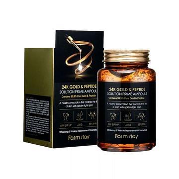 Антивоз. ампульная сыворотка с зол. и пептид. Farm Stay 24K Gold & Peptide Soluyion Prime Amp. 250ml