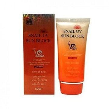 Солнцезащитный крем Улитка/Отбеливание JIGOTT Sun Block Cream, 70мл.