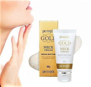 Антивозрастной крем для шеи с частицами золота Petitfee Gold Neck Cream, 50гр.