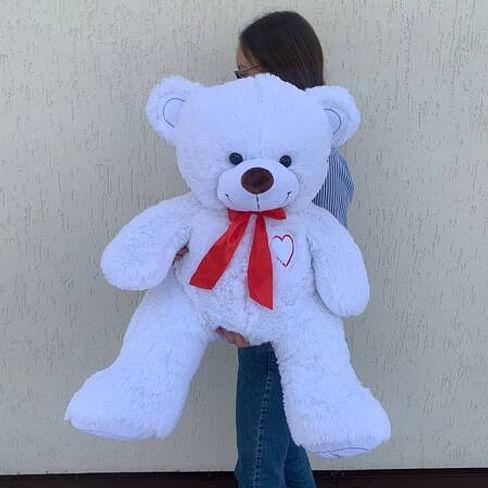 """Медведь """"Гриня белый"""" длина 100см (сидя 60см)"""