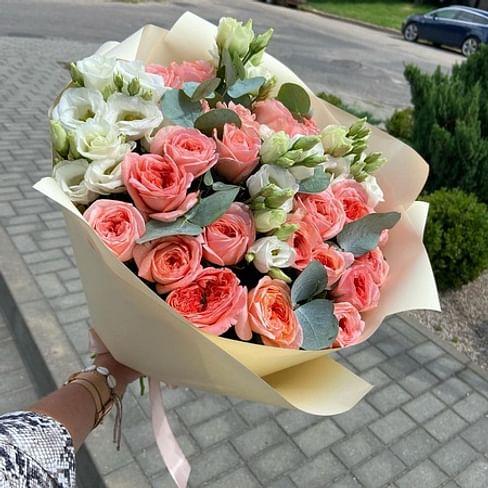 """Букет """" Розовое золото"""" 21 роза"""