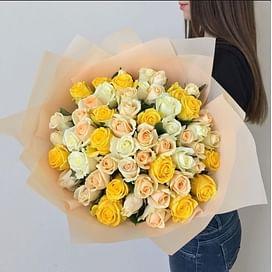 """Букет роз """"Лимонный"""" 51 роза"""