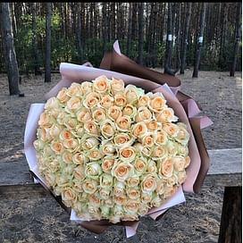 Персиковый букет 101 роза
