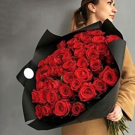 "Букет красных роз ""Пламя"" 51 роза"