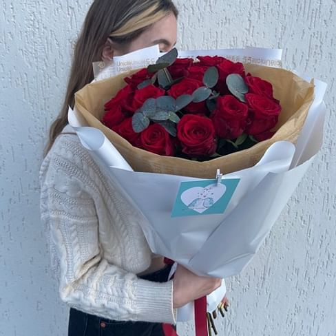 "Букет роз ""Радуга"" 60см 15 роз"