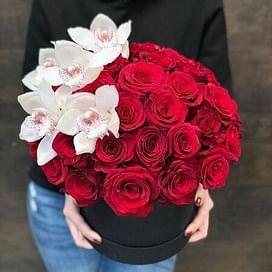 "Коробочка с розами и орхидеей ""Утро"" 41роза"