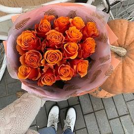 """Букет роз """"Алый закат"""" 15 роз"""