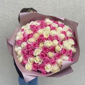 Бело-розовый букет 101 роза
