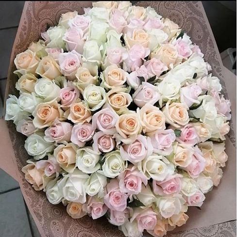 "Букет роз ""Крем-Брюле"" 101 роза"