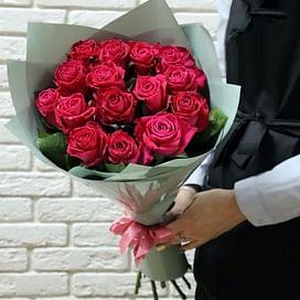 """Букет роз """"Малиновое лето"""" 15 роз"""