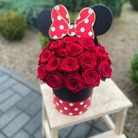 """Коробка с цветами """"Микки"""" 25 роз"""