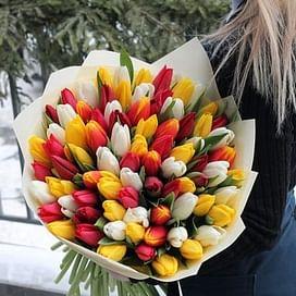 """Букет """"Весенний микс"""" (75 тюльпанов)"""