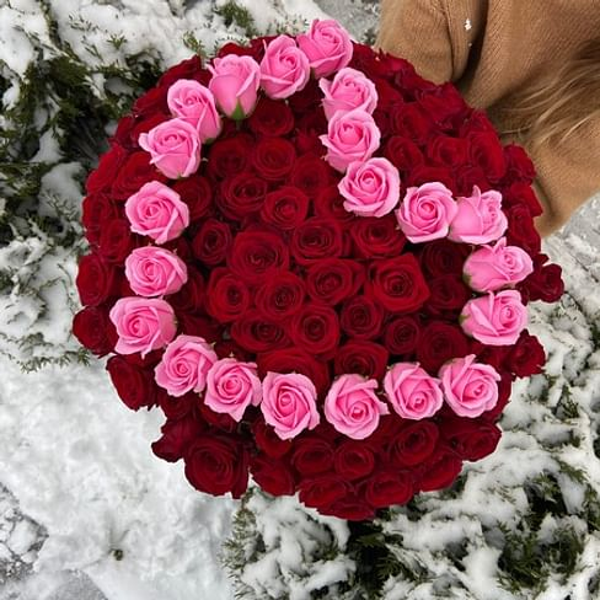 "Букет "" Сердце из роз"" 60см 101 роза"