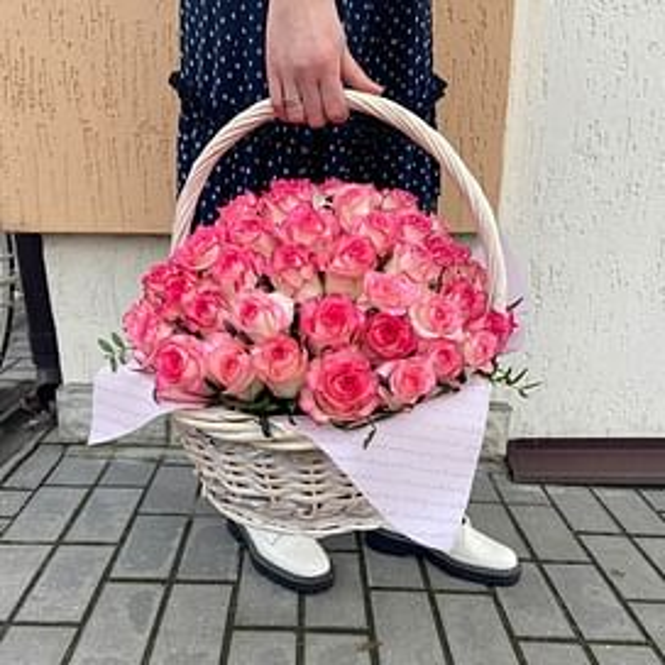"Корзина роз "" Эрика"" 71 роза"