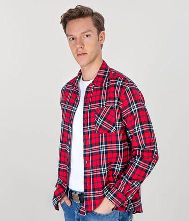 Рубашка Regular в клетку с длинными рукавами Lee Cooper MICK 2815 RED