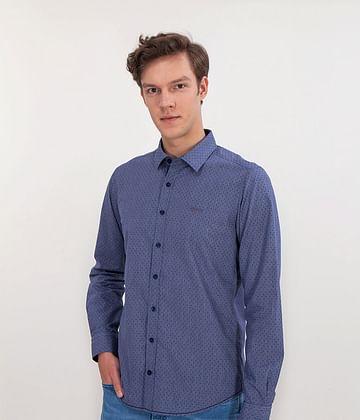 Рубашка Slim с микровышивкой Lee Cooper WEST 2520 BLUE