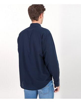 Рубашка Comfort со льном Lee Cooper DALION 2030 NAVY/BLUE