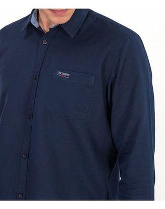Рубашка Regular со льном Lee Cooper EGON 2030 BLACK/NAVY/BLUE