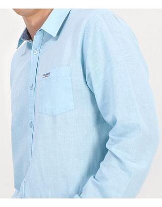 Рубашка Regular со льном Lee Cooper EGON 2030 MORNING BLUE