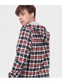 Рубашка Regular в клетку с капюшоном Lee Cooper RAMON 3123 RED