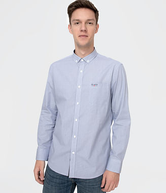 Рубашка Slim в мелкую клетку Lee Cooper JORDAN 2777 BLUE