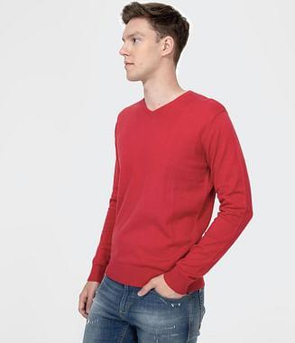 Хлопковый свитер с V-образным горлом Lee Cooper ADAM COTTON RED