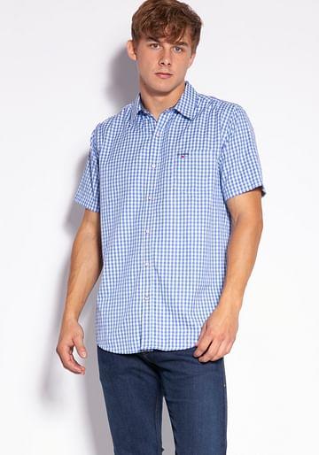 Рубашка Slim в мелкую клетку Lee Cooper OLIER2 1025 BLUE