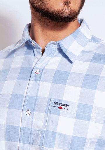 Рубашка Regular хлопковая в клетку Lee Cooper OSCAR2 1026 BLUE