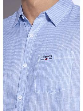 Льняная рубашка Regular в полоску Lee Cooper OLIVIERO2 1006 BLUE
