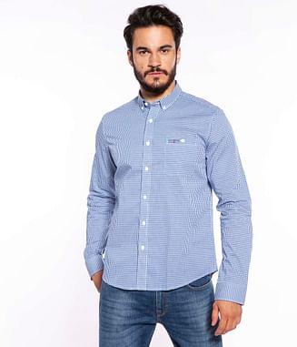 Рубашка Regular в мелкую клетку Lee Cooper MILES 1230 BLUE