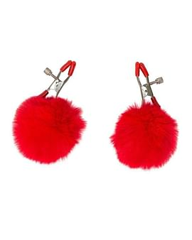 Зажимы на соски Angelic с красными меховыми шариками