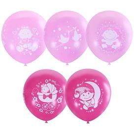 Воздушный шар. Латекс. (12''/30 см) С Днем Рождения Малыш ассорти розовое