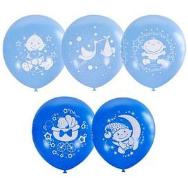 Воздушный шар. Латекс. (12''/30 см) С Днем Рождения Малыш ассорти голубое