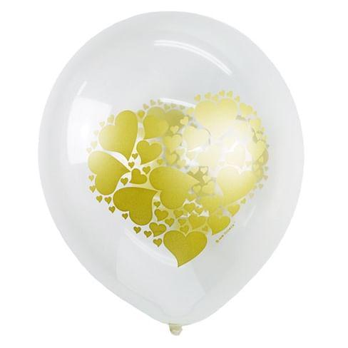 Воздушный шар. Латекс. (12''/30 см) Сердце, золото.