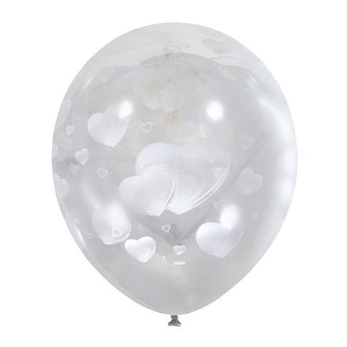 Воздушный шар. Латекс. (12''/30 см) Белые сердца.