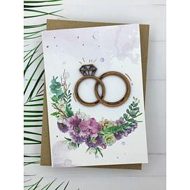 Открытка «С Днем Свадьбы. Кольца» + конверт