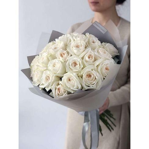 """Букет пионовидных роз White O'Hara """"Вояж"""" 25 роз"""