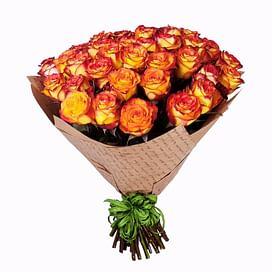 """Букет """"Пламенный"""" 35 роз Эквадорская роза"""
