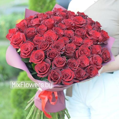 """Букет из 51 красной розы """"Эксклюзив"""" 51 роза Эквадорская роза"""