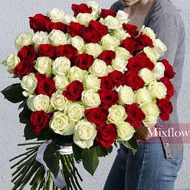 """Букет роз """"Микс"""" 51 роза Эквадорская роза"""