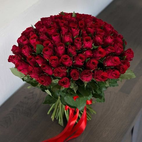 """Букет из 101 розы 70 см """"Страстный"""" 101 роза Кенийская роза"""