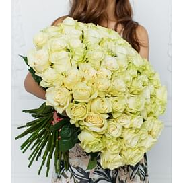"Букет роз ""Белый"" 101 роза Эквадорская роза"