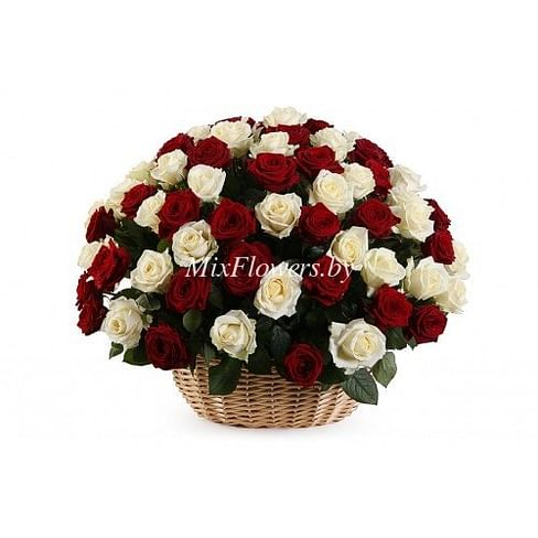 """Корзина роз """"Хорошее настроение"""" 101 роза"""