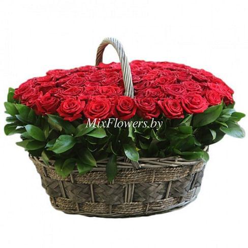 """Корзина роз """"Очарование"""" 101 роза"""