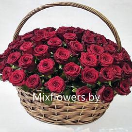 "Корзина роз ""Алая"" 101 роза"