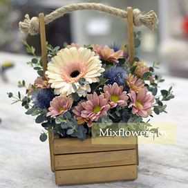 """Ящичек """"Осенний"""" Цветы в коробке"""
