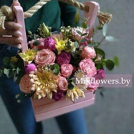"""Ящик """"Розовое настроение"""" Цветы в коробке"""
