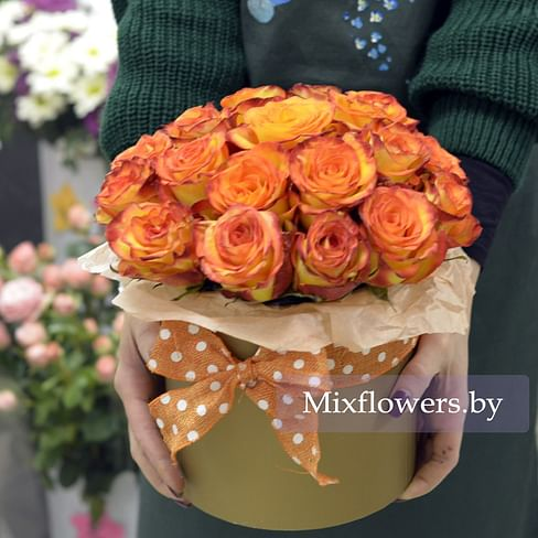 """Розы в коробке """"Теплый день"""" Розы в коробке 21 роза"""