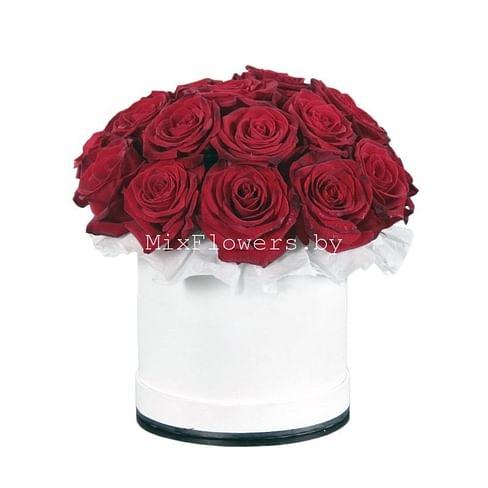 """""""Бордо"""" Розы в коробке 21 роза"""